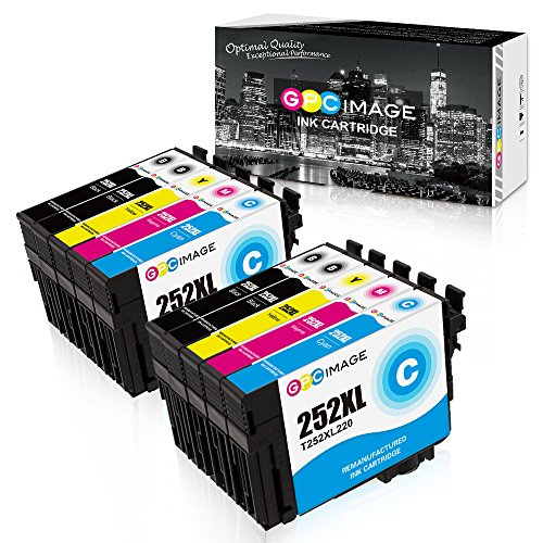 GPC Image Remanufactured Ink Cartridge Replacement for Epson T252XL 252XL 252XL120 to use with Workforce Wf-7720 Wf-7710 Wf-7210 Wf-3620 Wf-7610 Printer (4 Black, 2 Cyan, 2 Magenta, 2 Yellow, 10-Pack)