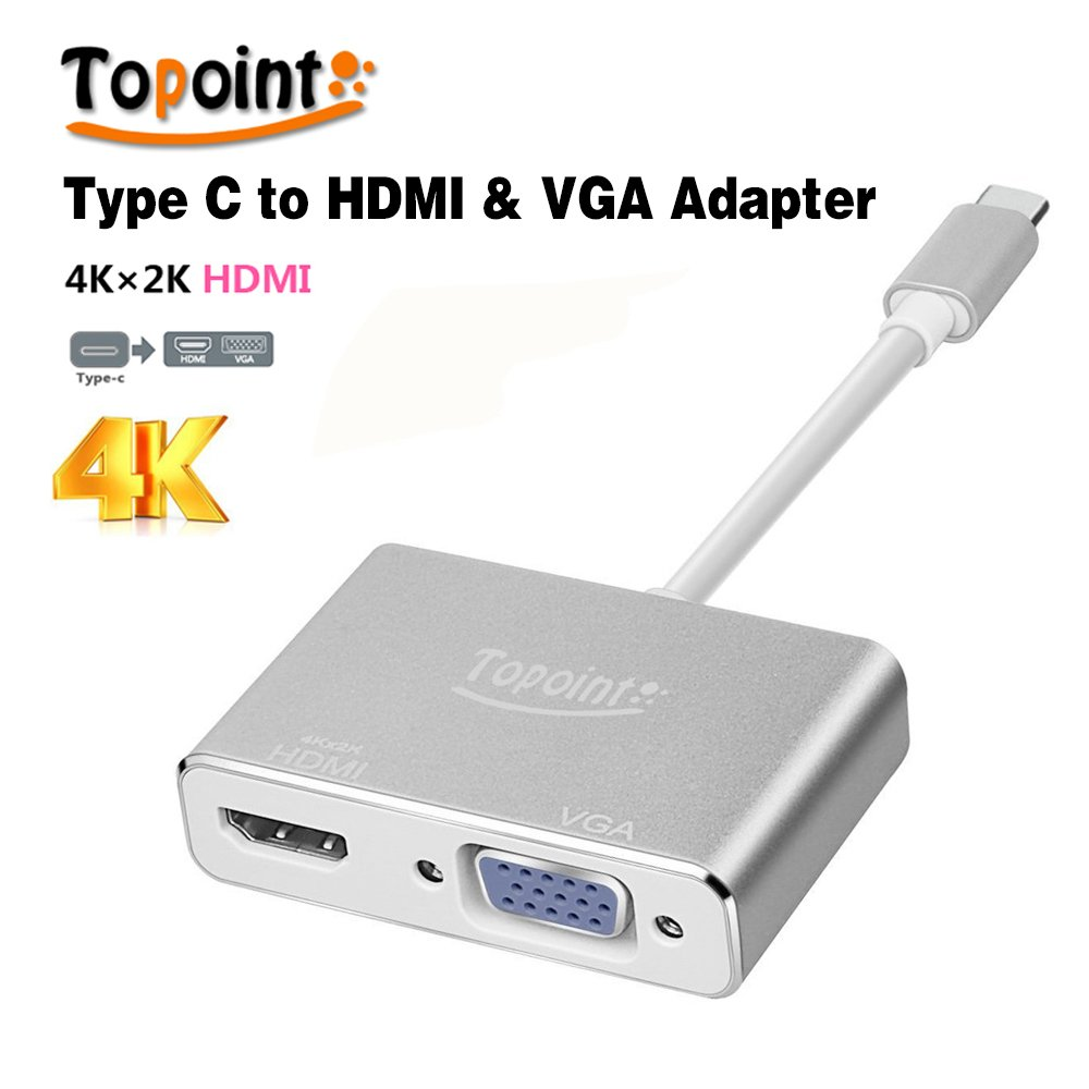Type C to HDMI 4K VGA Adapter, Topoint USB 3.1 Type C (USB-C) to VGA HDMI UHD Converter Adaptor for MacBook/ChromeBook Pixel, Plug and Play Type C to HDMI VGA Adapter
