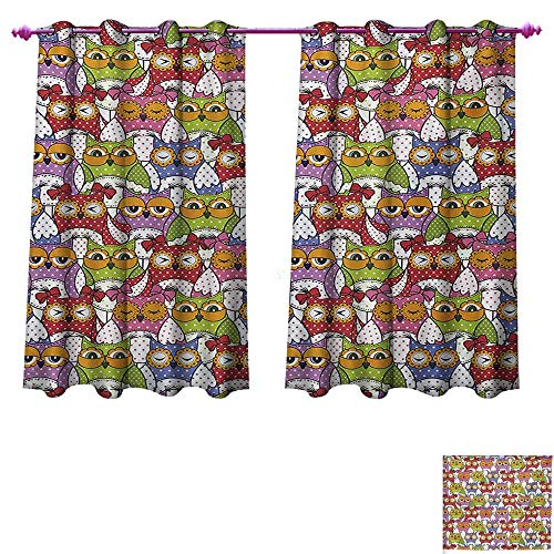 unrequitedlove Owl Room Darkening Wide Curtains Ornate Owl Crowd with Different Sights and Polka Dots Like Matryoshka Dolls Fun Retro Theme Decor Curtains by W72 x L45 Multi