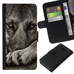 Norwegian Elkhound Swedish Vallhund - la tarjeta de Crédito Slots PU Funda de cuero Monedero caso cubierta de piel Samsung Galaxy Core Prime