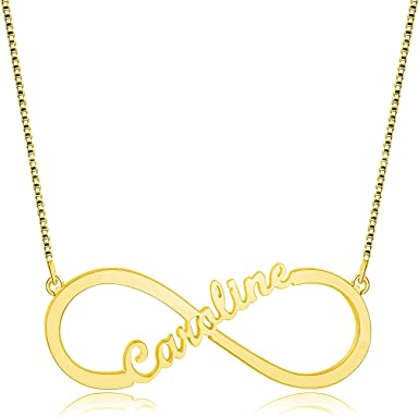 Infinity personalized Heart Name Necklace 18k Gold plated or 925 Sterling Silver personalized gift Necklace custom personalized engraved