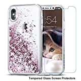 iPhone X Case, Maxdara Glitter Liquid Sparkle Floating Luxury Bling Quicksand Shockproof Protective Bumper Silicone Case Pretty Fashion Design for Girls Children[Pass MSDS&SGS Safety Test](Rosegold)