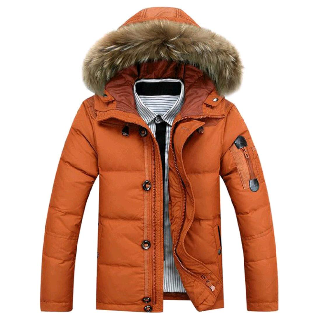 Nicelly Mens Juniors Warm Leisure Fur Collar Oversize Down Jacket