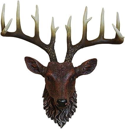 Lyyjiaju Animal Head Muurdecoratie Hars Hertenhoofd Met Gewei Voor Muurbevestiging Decoratie Hoofd Sculptuur Europese Creatieve Muur Herten Hoofd Ornament Amazon Nl