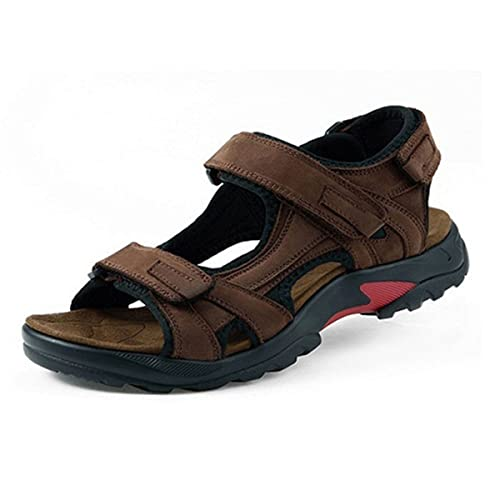 d18ebd291fab44 gracosy Men Leather Walking Hiking Sandals Outdoor Summer Shoes Gladiator Beach  Sandals Athletic Trekking Footwear Sports