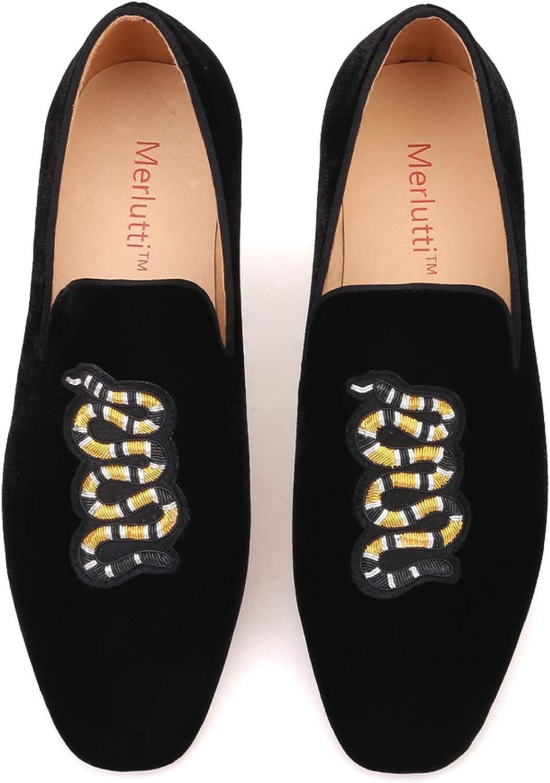 Merlutti Big Snake Patch Silk Embroidered Velvet Formal Loafer