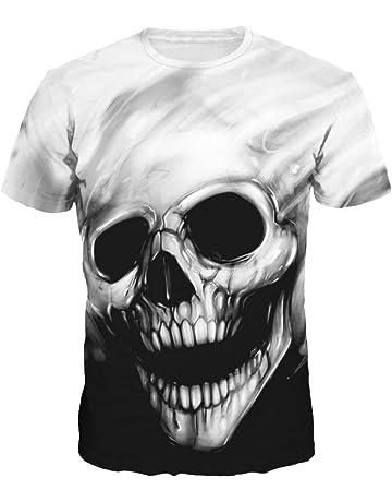 Camiseta de los Hombres,RETUROM Cráneo del Cráneo Que Imprimen Camiseta Camiseta de Manga Corta