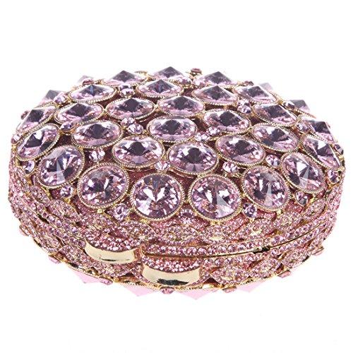 Rhinestone Bonjanvye Womens Round Multicolor Bag with Studded Handbag Clutch Crystal for Pink TxrTOnwUq
