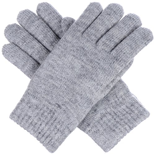- BYOS Winter Womens Toasty Warm Plush Fleece Lined Knit Gloves, 14 Solid Colors (Heather Light Gray)
