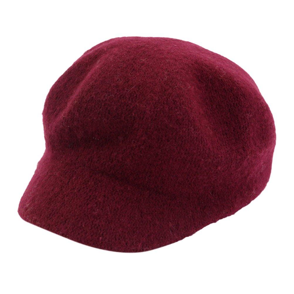 Zhhlinyuan Autumn Winter Felt Dome Newsboy Cap Women Solid color Beret Beanies Hat