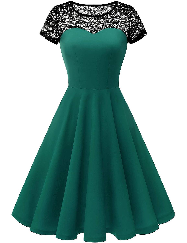 Dark Green Yoyaker Women's 1950s Audrey Hepburn Rockabilly Vintage Dress Floral Lace Cocktail Swing Stretchy Dress