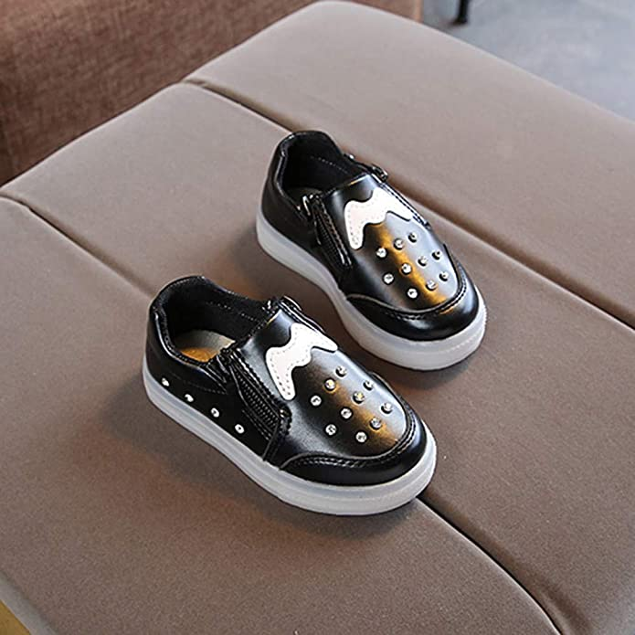 wwffoo Girls Boys Crystal LED Light Shoes for 1-6 Years Old Luminous Breathable Sport Shoes