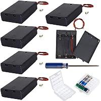 GTIWUNG 6 stuks 3 AA batterijhouder met schakelaar en deksel, batterijhouder doos met draden, zwarte plastic…
