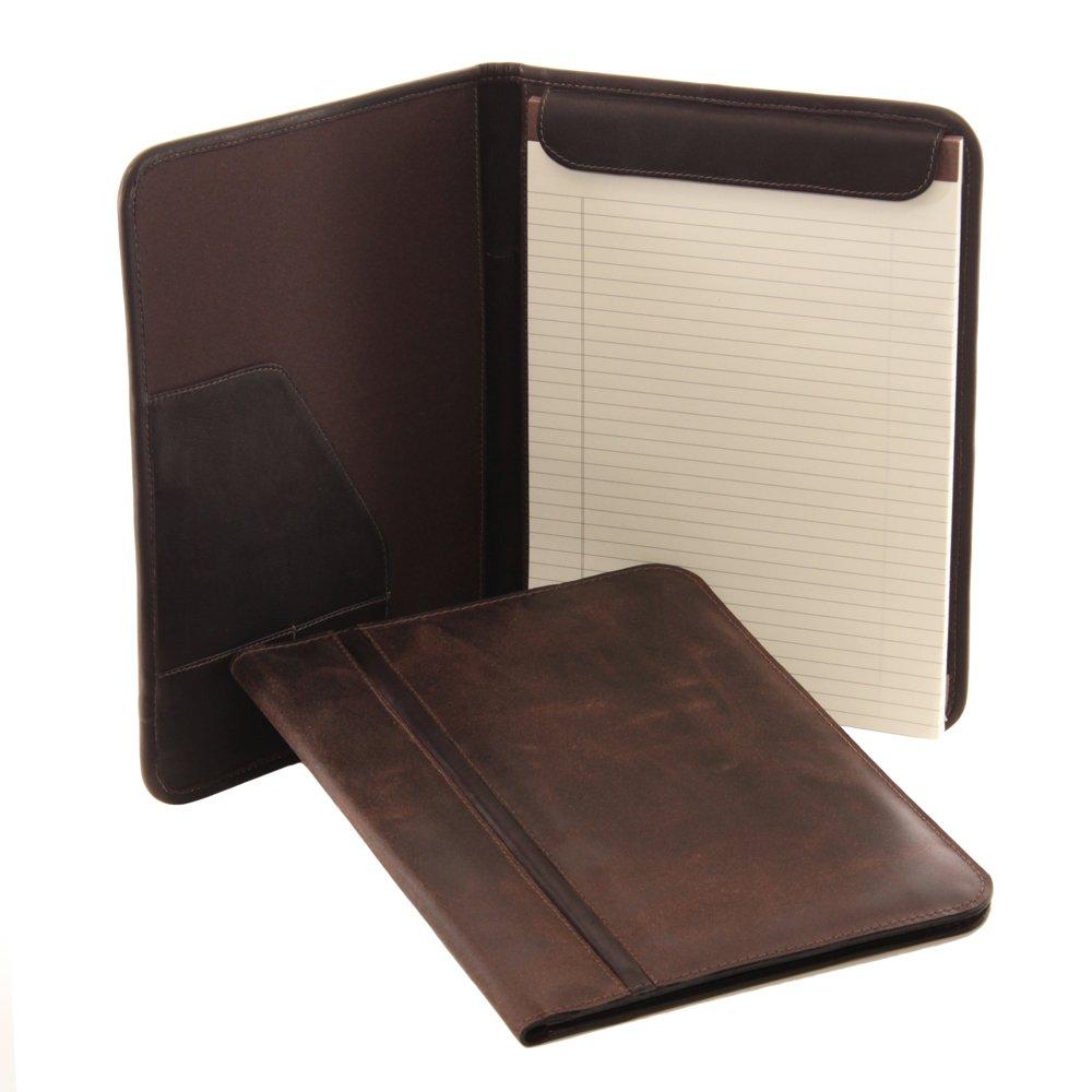 Piel Leather Vintage Letter-Size Padfolio, Brown