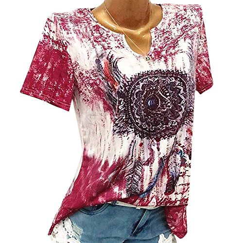 TnaIolral Women Blouse Windbell Print V-Neck Short Sleeve Pullover Tops Shirt Red ()