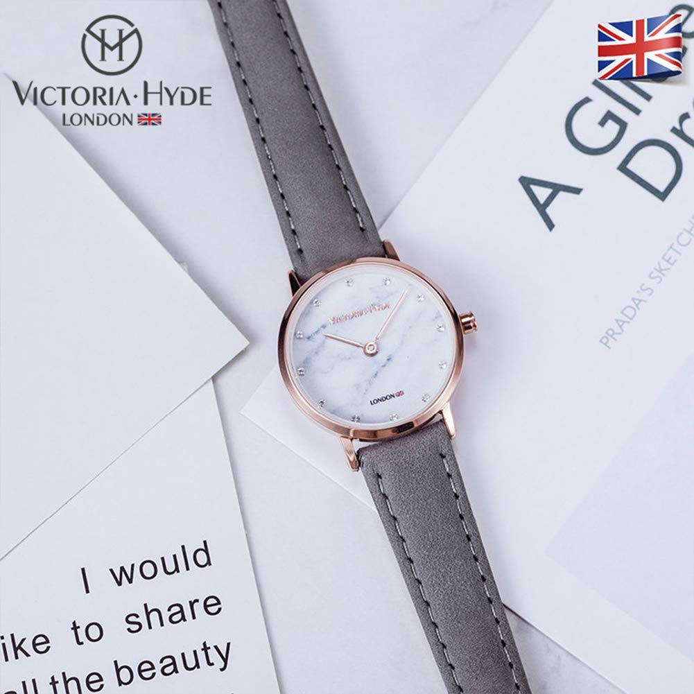 2b137e494 VICTORIA HYDE Women Marble Small Face Analogue Quartz Watches With Rose  Gold Case Waterproof Genuine Leather Strap Grey For Ladies: Amazon.co.uk:  Watches