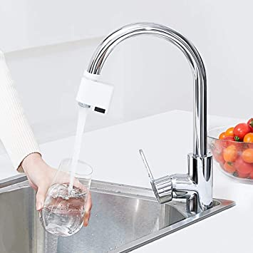 White Barcley Smart Automatic Sense Infrared Induction Water Saving Device Adjustable Water Diffuser for Kitchen Bathroom Sink Faucet Double Sensor IPX6 Waterproof Water Overflow Protection