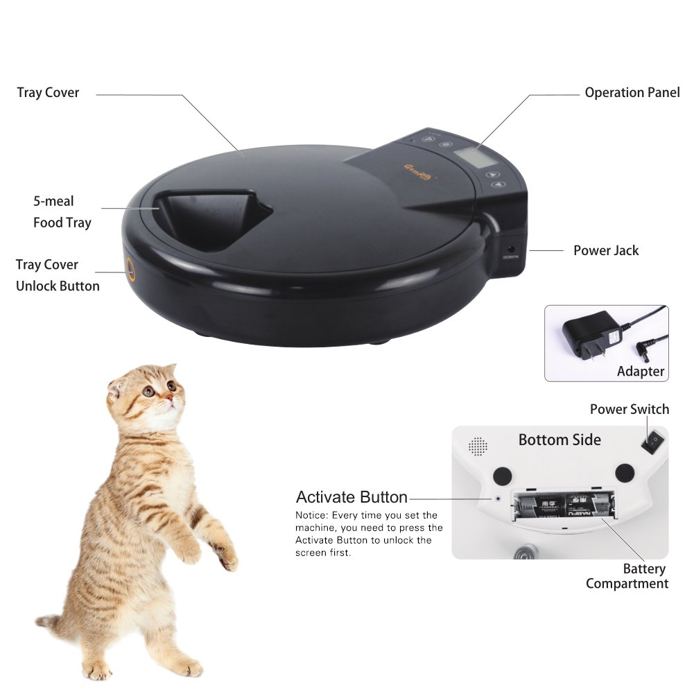 JEMPET Automatic Pet Feeder Cats Dogs, 5 Meal Trays Dry Wet Food, Auto Pet Food Dispenser Programmed Timer Voice Recording Function, 5 x 240ml by JEMPET (Image #7)