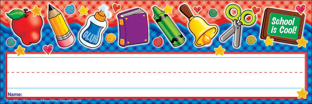 Scholastic School Tools Gingham! Name Plates (TF1536)