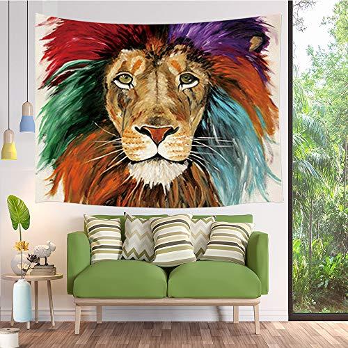 JAWO Wild Animal Lion Tapestries, Lion Colorful Rainbow