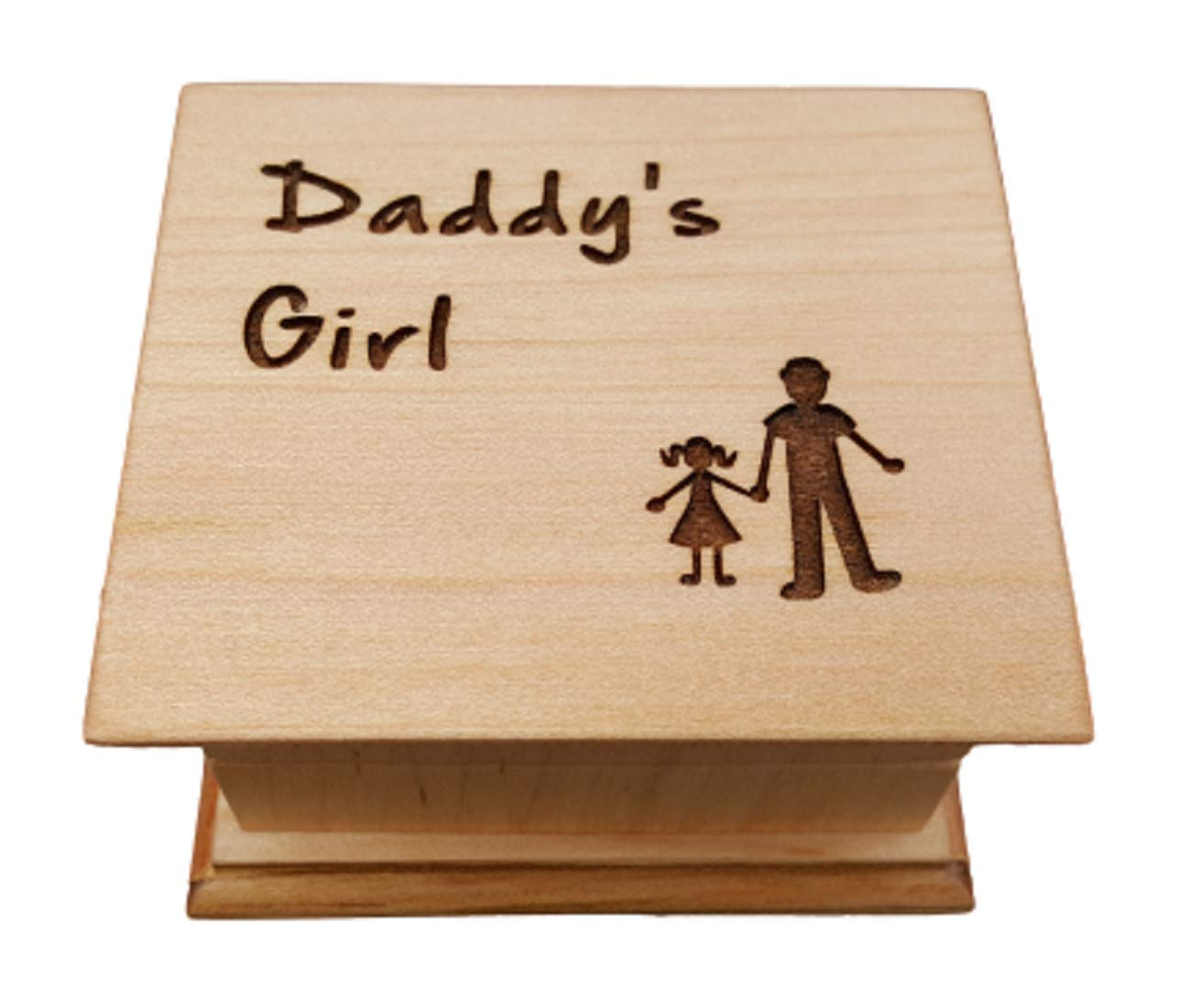 My Little Girl Wooden Music Box with father and daughter engraved to the top with butterflies Father of Bride gift Daughter Music Box