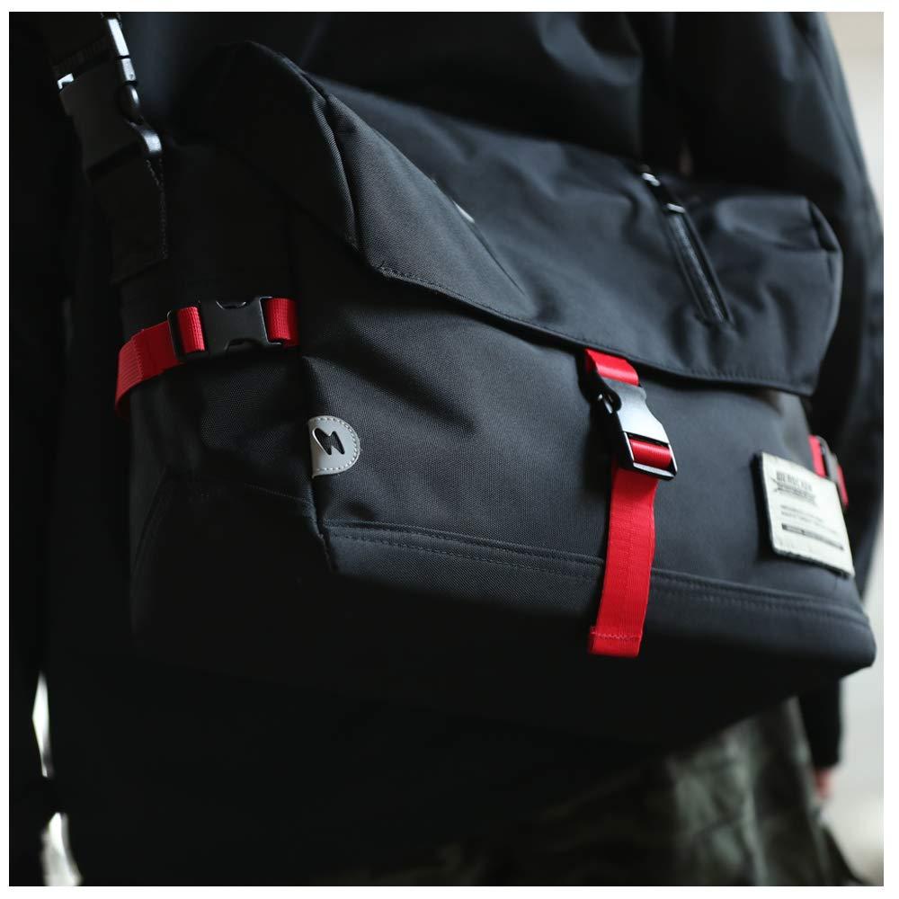 Messenger Bag Unisex Backpack Nylon Satchel Shoulder Crossbody Messenger Bag for School Work Sport Fits 14 Inch Laptop Messenger Bag for Men & Women Water Resistant with Reflective Mark (Urban Black)