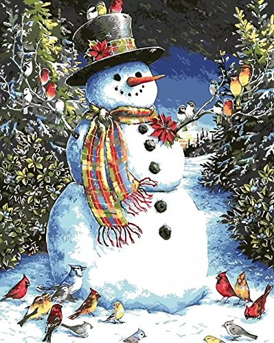 Wowdecor Paint by Numbers Kits for Adults Kids, Number Painting - Winter Snow, Snowman & Birds, Happy Christmas 16x20 inch(No Frame)