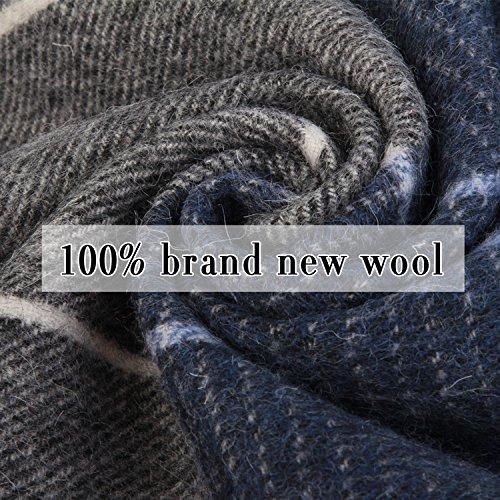 Erigaray 100% Wool Mens Scarf Plaid Winter Warm Fashion knit Scarfs For Men by Erigaray (Image #4)
