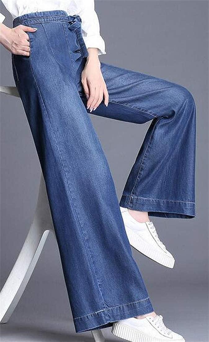 Hajotrawa Womens High Waisted Wide Leg Straight Leg Faded Bow Denim Jeans