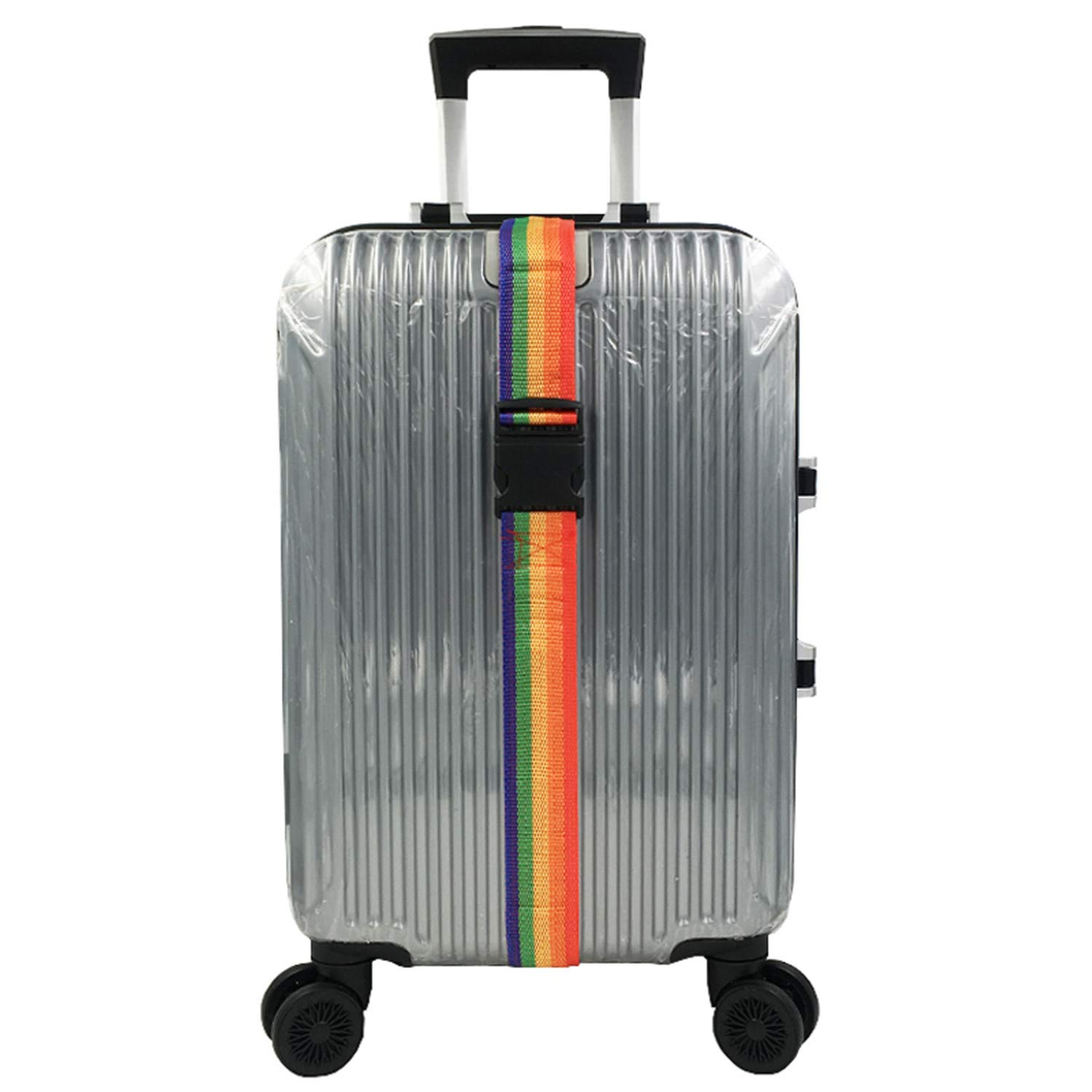 Rainbow Adjustable Luggage Strap 2 Pieces Polyester Baggage Rope Travel Suitcase Trolley Backpack Luggage Packing Belt