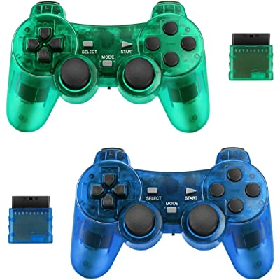 Achort Mando a Distancia inalámbrico con Bluetooth Compatible con PS2 Playstation 2 Double Shock