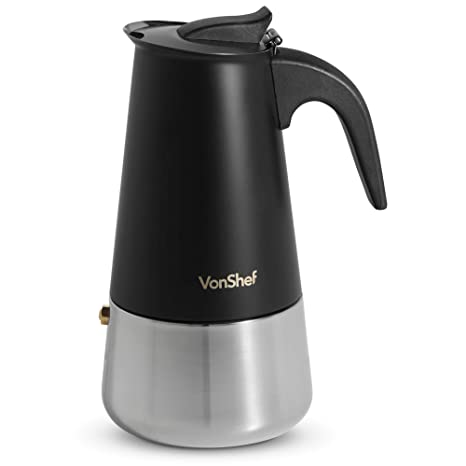 VonShef Cafetera Italiana de 6 tazas – Cafetera para espresso en acero inoxidable color negro mate– Apto para cocinas eléctricas y de gas