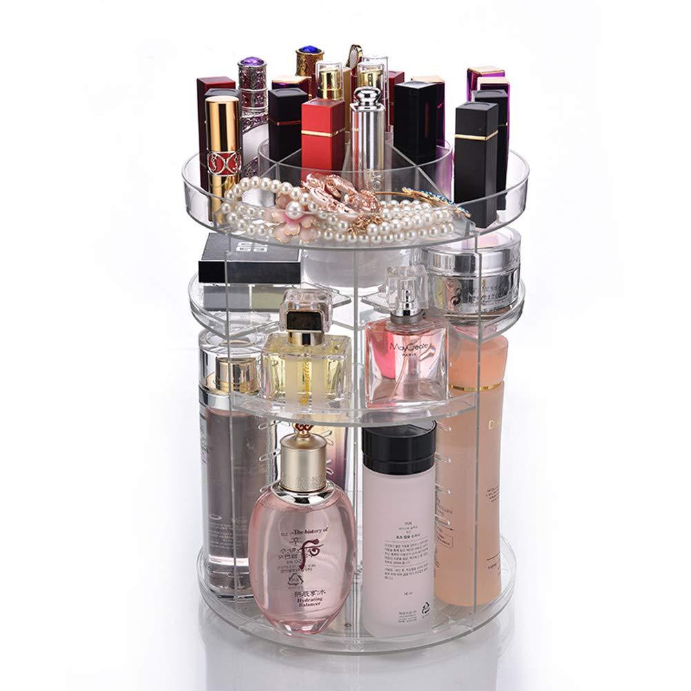Fashion 360-degree Rotating Makeup Organizer Tool Transparent Box Brush Holder Jewelry Organizer Makeup Clean Tool Case Jewelry Makeup Cosmetic Storage Box (Black) Yahegongmao