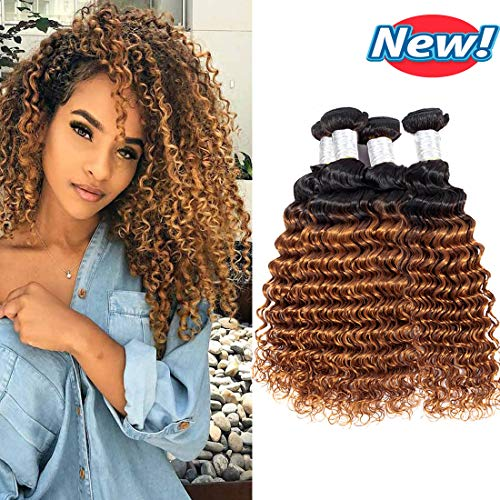 (BCQueen Brazilian Ombre Deep Wave Virgin Hair 4 Bundles Wet and Wavy Ombre Brazilian Deep Curly Hair Bundles Human Hair Extensions Two Tone Color T1B/30(18182020))