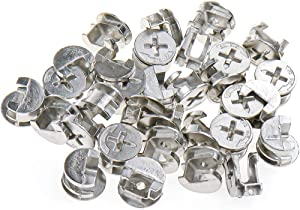 """LICTOP 14.6mm/ 0.575"""" Dia 9.5mm/0.37'' height Cam Fittings Lock Furniture Cabinet Connectors Hardware Bolts Silver-30 Pcs"""