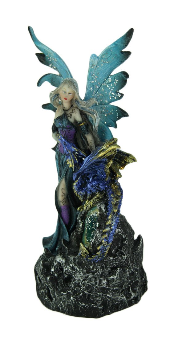 Everspring Sapphire Blue Fairy and Dragon LED Lighted Geode Statue