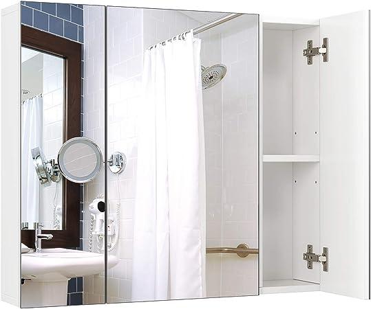 Homfa Armadio A Specchio A Tre Ante Armadietto A Specchio Da Bagno Con Ripiani Interiori 70 15 60 3 Cm Bianco Amazon It Casa E Cucina