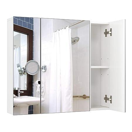 Specchio Bagno Con Ante.Homfa Armadio A Specchio A Tre Ante Armadietto A Specchio Da Bagno
