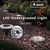 Solar Garden Ground Lights Outdoor Diamond Stake Lights Landscape Lighting Stainless Steel Pathway Lights for Walkway Patio Yard Lawn Driveway Flowerbed Courtyard Decoration 8 LED White Light 4 Packs Review
