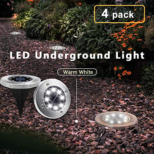 Solar Garden Ground Lights Outdoor Diamond Stake Lights Landscape Lighting Stainless Steel Pathway Lights for Walkway Patio Yard Lawn Driveway Flowerbed Courtyard Decoration 8 LED White Light 4 Packs ()