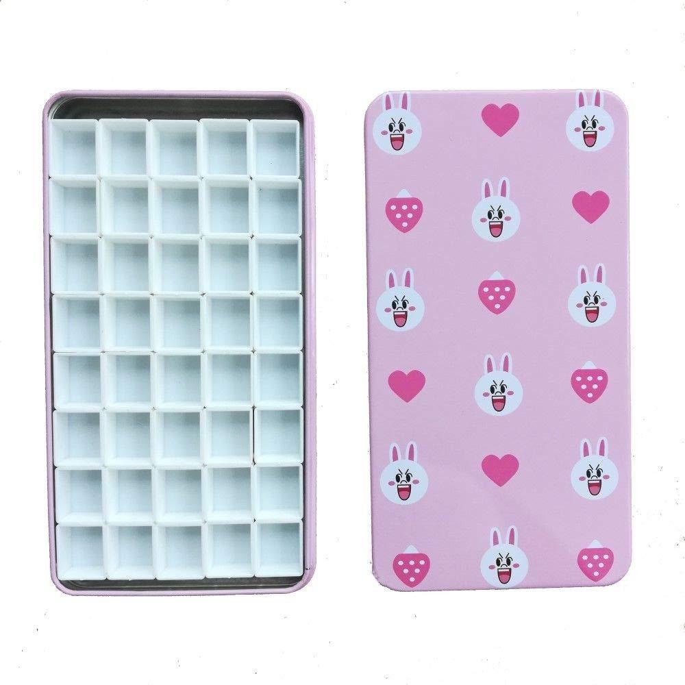 FidgetKute Pink Rabbit Empty Watercolor Palette Paint tin Box with 40 Half Pans