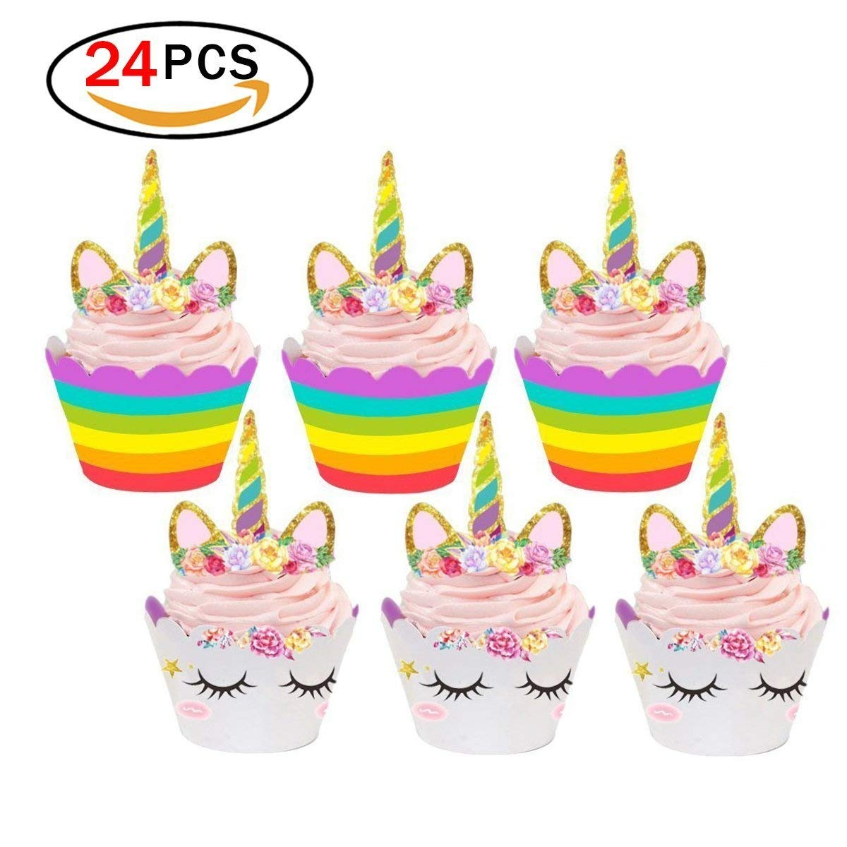 Rocita Set of 24 Unicorn Cupcake Toppers and Wrappers Double Sided Kids Party Cake Decorations