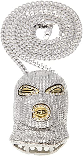 Osye 18k Real Gold Plated Mask Man Pendant HipHop Necklace with Cuba Chain for A Layered Look