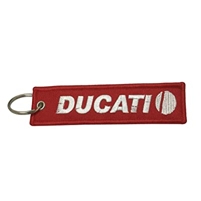 1pcs Red Tag Keychain for Ducati Motorcycles Bike Biker Key Chain Accessories Gifts: Automotive