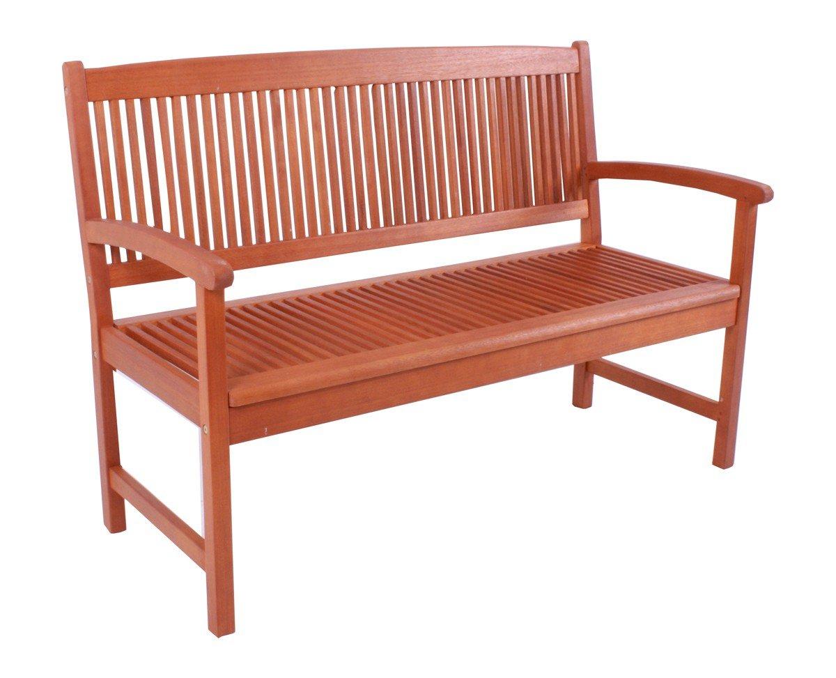 Gartenmöbel Holz Gartenbank Holz geölt Echtholz 2-Sitzer 155x60x91 - wunderschöne Holzbank aus geöltem Eukalytus Holz als 2 Sitzer Modell