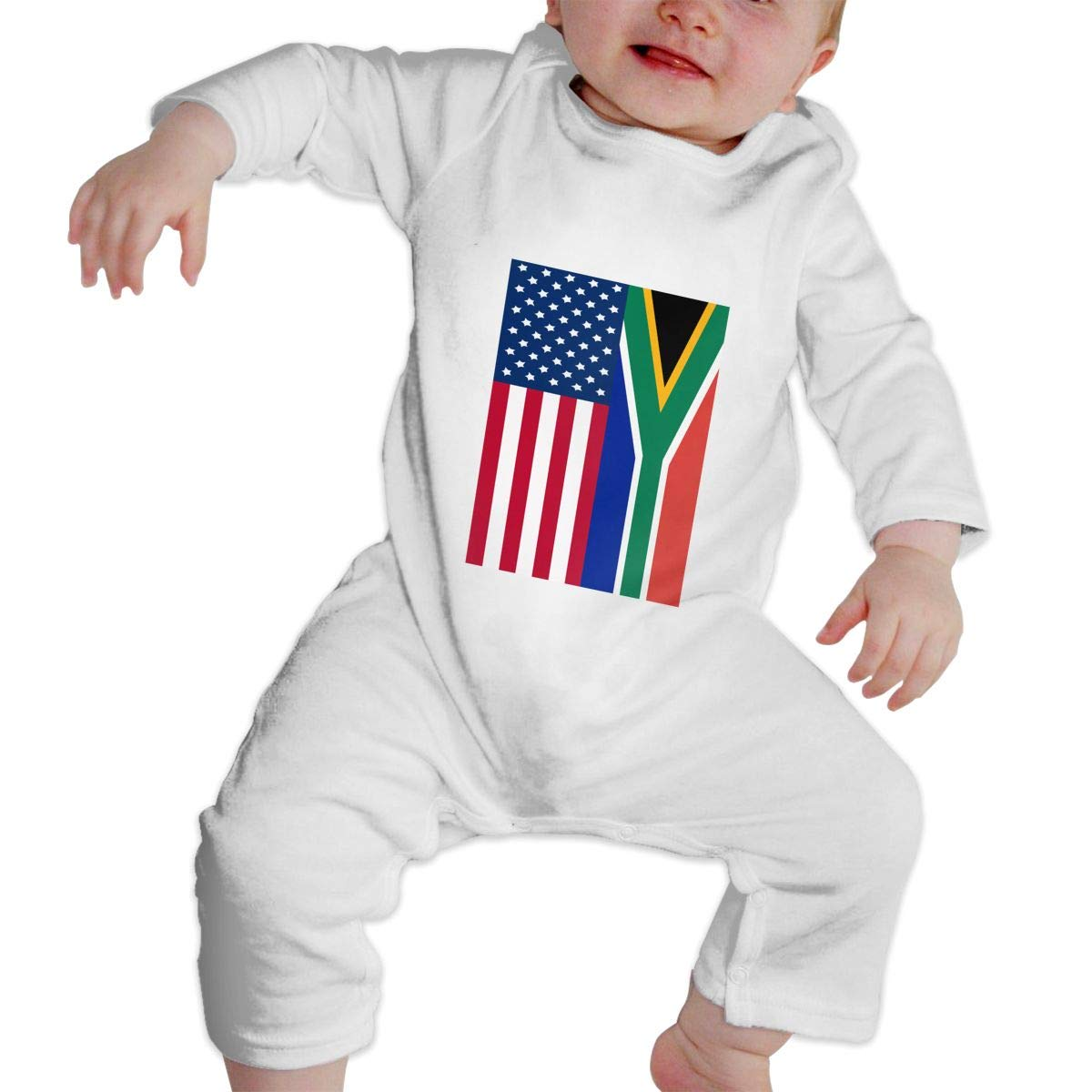 A1BY-5US Newborn Baby Boys Girls Cotton Long Sleeve South Africa and American Flag Jumpsuit Romper