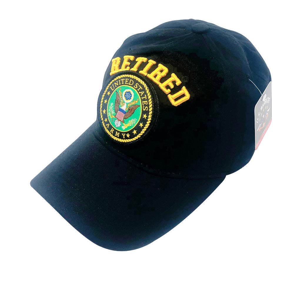 Proud US Army Infantry Retired Veteran Baseball Cap with Interchangeable Patch on Front Law-Medium Profile Black Unstructured Dad Hat Official Licensed 3D Embroidered Hat U.S.A American Pride