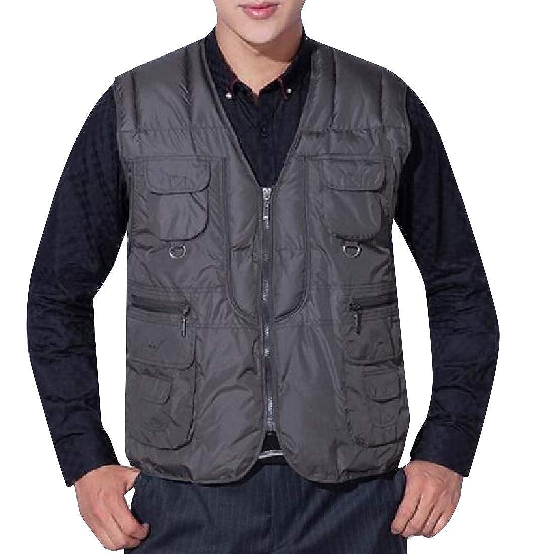 Abetteric Mens Full Zip Slim Casual Openwork Windbreaker Puffy Vest