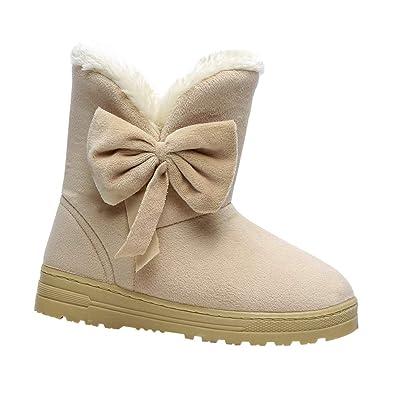Tenthree Zapatos para Mujer Botas de Nieve - Mujer Antideslizante Bowknot Plataforma Plano Forrado de Piel Baja Tobillo Trim Botines Planos Calentar ...