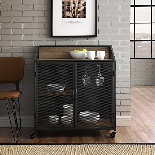 Cheap WE Furniture AZU33SOIBCRO Bar Cabinet, 33″ L x 17″ W x 38″ H, Rustic Oak